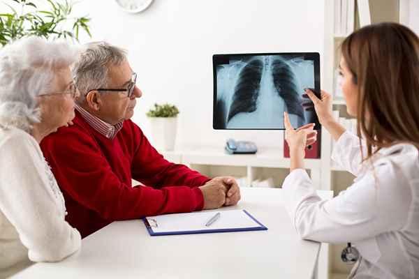 Rak płuc – pani doktor pokazująca parze seniorów zdjęcie RTG płuc.